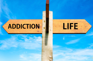 Addiction And Life Wooden Signpost